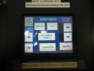 AV Touch Control Main Menu