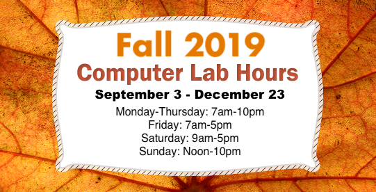 Fall 2019 Computer Lab Hours